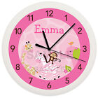 PINK SAFARI JUNGLE NURSERY WALL CLOCK NURSERY PERSONALIZED BABY SHOWER GIFT