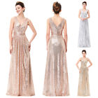 Elegant V-Neck Shiny Sequins Bridesmaids Wedding Dress Evening Prom Party 4-18