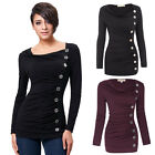 Women Casual Shirts Long Sleeve T-Shirt Blouse Button Embellished Cotton Tops