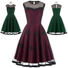 Womens Retro 40s 50s Pinup Casual Sleeveless Evening Party Lady Tea Swing Dress