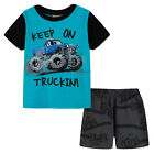Pyjamas Baby Boys Summer Pjs Set (Sz 0-2) Aqua Blue Monster Truck Size 0 1 2