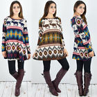 Casual Women Long Sleeve Printed Christmas Crew Neck Loose Evening Party Dress