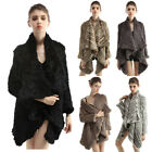 Women Real Rabbit Fur Coats Jackets Shawl Outerwear Knitted Casual New 6 Colors