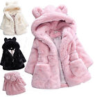 Thick Warm Kids Baby Girls Fur Rabbit Hooded Coat Winter Outwear Jacket Clothes