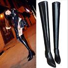 Lady's Women's  Black Stretch Leather Over The Knee  boots Size 5-8.5