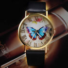 Fashion Women's Butterfly Leather Band Analog Quartz Casual Sport Wrist Watches