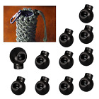 10 - 100 Round Black Cord Lock Toggles Stoppers Plastic Draw Strings LacesStraps