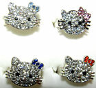SPARKLY HELLO KITTY GIRLS ADJUSTABLE RING CHOICE OF BOW COLOUR UK DELIVERY