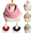 Chic Women Warm Infinity Circle Cable Winter Faux Fur Cowl Neck Long Scarf Shawl
