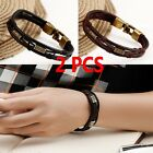 2Pcs Men Braided Genuine Leather Stainless Steel Cuff Bangle Bracelet Wristband