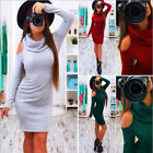 Winter Autumn Women Long Sleeve Cable Knit Sweater Jumper Top Bodycon Slim Dress