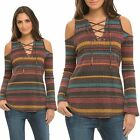ELAN Boho Lace Up Cold Shoulder Stripe Knit Long Sleeve Top S-L $78 Retail USA