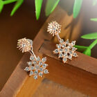 Fashion Women Snowflake Rhinestone Crystal Dangle Ear Stud Earring Jewwlry Gift