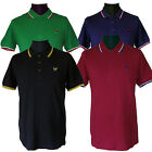 Warrior Retro Vintage Slim Fit Polo Shirt Cotton Tipped Black Blue Oxblood Green