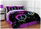 Color Coordinated Bedding Set Peace Sign twin XL full queen comforter sheets NEW