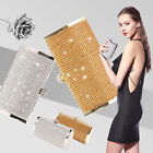 Ladies Womens Compact Crystal Diamante Evening Clutch Purse Wedding Party Prom
