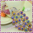 Rhinestone Crystal Peacock S-A Lucky Purse Charms Keychain Bling Accessories lot