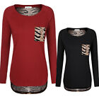 BIG SALE Women's Animal Print Blouses Splicing Long Sleeve Tunic Tops T-shirt