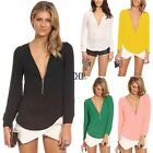 Sexy Women 5 Colors V-Neck Casual Long Sleeve Pure Color Loose Tops Blouse KECP