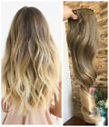 Ash Brown Blonde Syntheic Ombre Straight Curly Wavy Clip in Hair Extensions