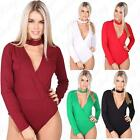 Women's Ladies Plain Choker Long Sleeve V Neck Wrapover Leotard Top Bodysuit