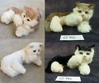 Dunhung Large Realistic Laying on side Paw Up Cat Kitten Real Rabbit Fur CT985