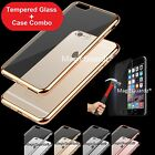 For iPhone 7 Plus Case Silicone Clear Cover Bumper Rubber Case + Tempered Glass