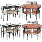 5 Piece Wood Metal Kitchen Breakfast Dining Set 4 Chairs and Table Dinette M8G0