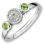 Peridot & Diamond Ring Sterling Silver 0.05 Ct Size 5-10 Stackable Expressions