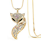 Fashion Women Retro Rhinestone Crystal Fox Pendant Long Sweater Chain Necklace