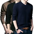 New Fashion Men Long Sleeve Cotton Blends Pullover Round Neck Male Sweater
