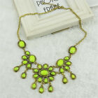 Women Vintage Flower Alloy Resin Pendant Collar Chain Statement Neckalce