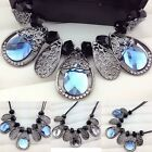Women Lady Crystal Leaves Pendant Sweater Chain Necklace Party Jewelry