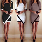 Women Fashion Half Sleeve  White & Black Patchwork Pencil Short Mini Dress DK