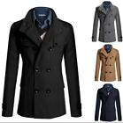 Mens Double Breasted Peacoat Jacket Winter Warm Wool Cotton Trench Coat Outwear