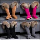 Women Luxurious Knee High Snow Suede Boots Flats Real Fox Fur Winter Warm Shoes