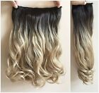 17 Inches 120gr Thick Synthetic Wavy Ombré Clip in Hair extensions Brown Blonde
