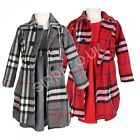 3PC Girls Winter Coat Dress and Hat, Girls Grey and Red Formal Coats Dress Set