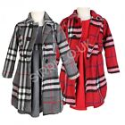 3PC Girls Winter Coat Dress and Hat Girls Grey and Red Formal Coats Dress Set