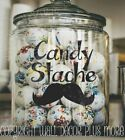 Candy Stache Vinyl Decals Glossy Stickers for Glass or Plastic Containers 2pc pk