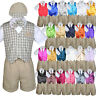 7pc Baby Boy Toddler Formal Khaki Vest Shorts Check Suit Extra Necktie Set S-4T