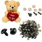 100x 6/8/10/12MM Replacement Black Safety Eyes + Washers For Bear Doll Toy US