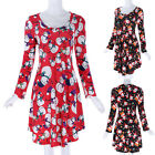 Women's Xmas Christmas Loose Long Sleeve V-Neck Floral Party Cocktail Mini Dress