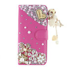 Luxury Bling Diamond Flip Leather Wallet Stand Soft Case Cover For LG Phones