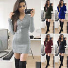 Womens Night Out Bodycon Ladies Long Sleeve Stretch Pencil Dress Size S M L XL