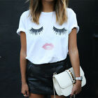 High quality   Loose T-shirt Printed White Tops Tees with Eyelash Red Lips h7