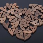 50/100/200 Lots Wooden Heart Natural Button Craft Sewing Scrapbooking Holes DIY