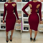 Women's Long Sleeve Hollow Out Bandage Bodycon Knee Length Pencil Dress Party K