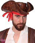 CARIBBEAN PIRATE HAT LEATHER LOOK BROWN TRICORN FANCY DRESS COSTUME ACCESSORY