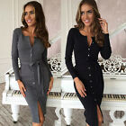 Women's Long Sleeve Casual Evening Party Cocktail Bandage Bodycon Mini Dress